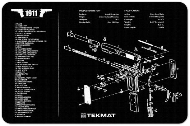 "TekMat 1911 Handgun Cleaning Mat 11"" x 17"" Black 17-1911"