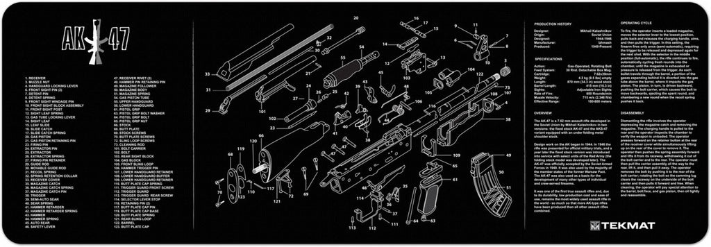 "TekMat AK-47 Rifle Gun Cleaning Mat 12"" x 36"" Black 36-AK47"