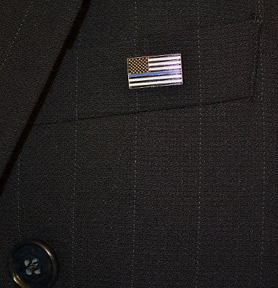 "Thin Blue Line Police U.S. Flag Brass Plated Pin (Small) 3/4"" x 7/16"""