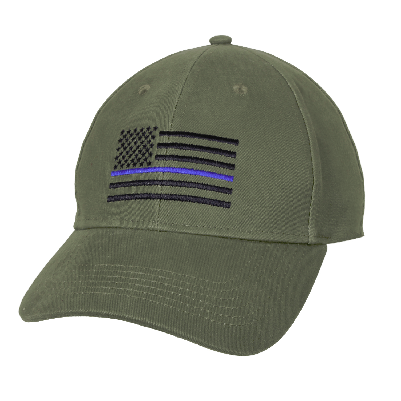 Thin Blue Line Police U.S. Flag Low Profile Cap Hat Olive Drab OD Green