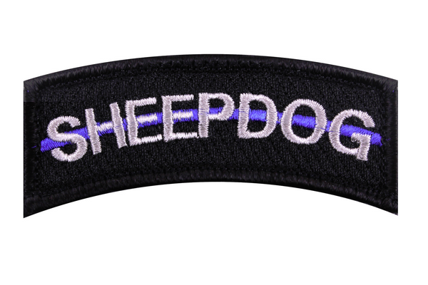 "Thin Blue Line Police Sheepdog Velcro Morale Patch Shoulder Tab 1 1/4"" x 3"""