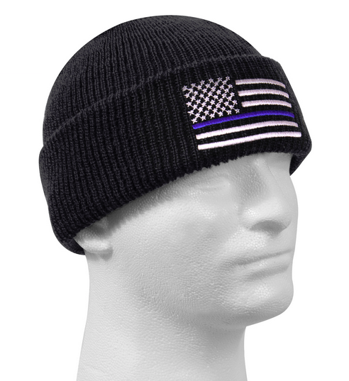 Thin Blue Line Police U.S. Flag Deluxe Embroidered Winter Fold-Over Beanie Watch Cap Black