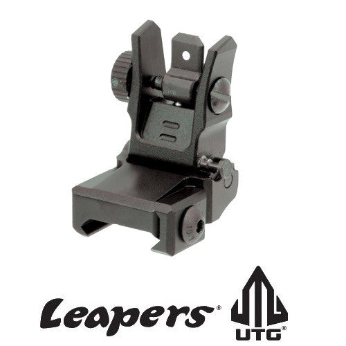 UTG Leapers MNT-955 New Gen Super Slim Low Profile Flip-up Rear Sight with Dual Aiming Aperture Black Anodize Aluminum
