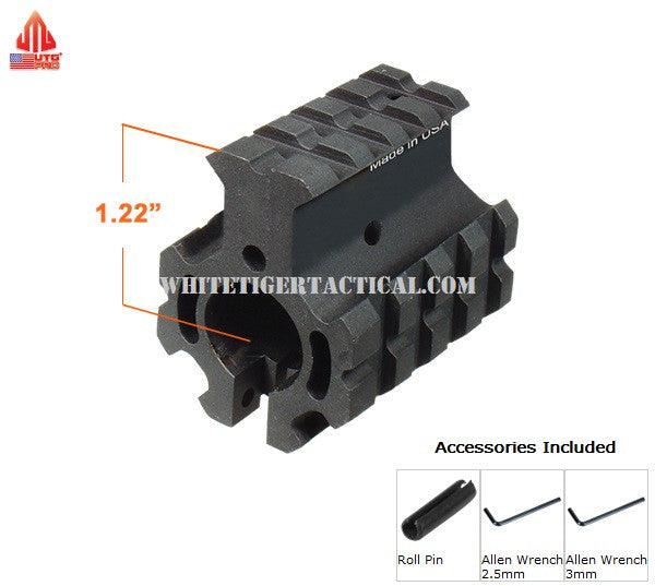 "UTG PRO MTU012H4 Model 4/15 Quad-Rail Gas Block for .750"" Barrel w/ High-Profile Height Top Rail (Roll Pin incl.) USA Made Leapers  AR15 / M4 / AR-10 / SR25 / LR-308"