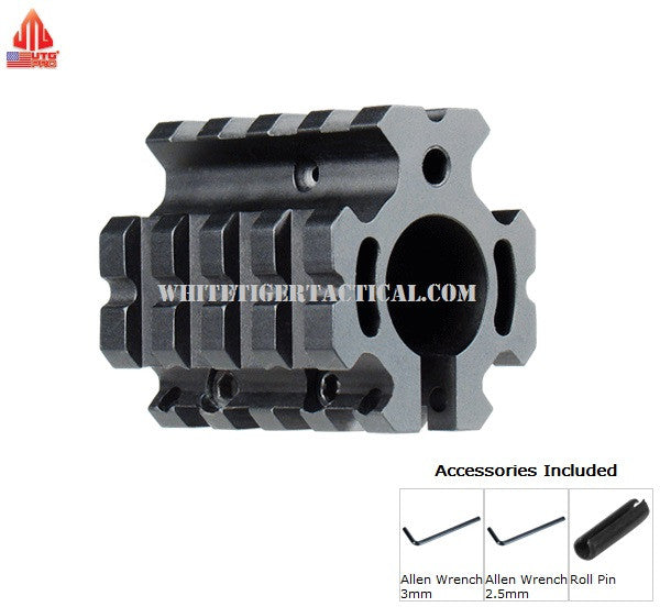"UTG PRO MTU012 Model 4/15 Quad-Rail Gas Block for .750"" Barrel w/ Low-Profile Height Top Rail (Roll Pin incl.) USA Made Leapers AR15 / M4 / AR-10 / SR25 / LR-308"
