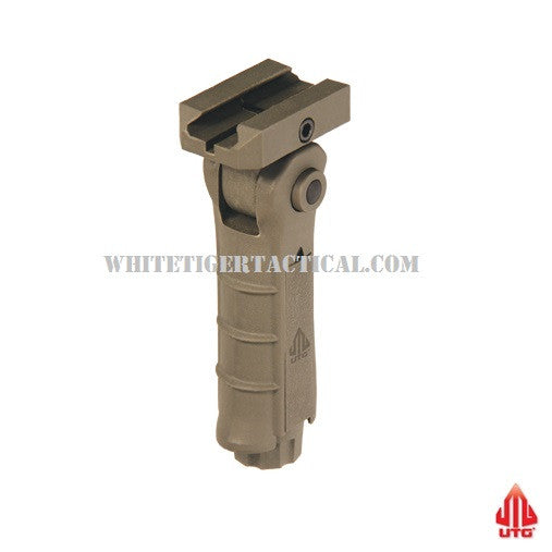 UTG Leapers RB-FGRP170D Ambidextrous 5-position Foldable Rail Vertical Forend Grip Foregrip 1913 Picatinny FDE Flat Dark Earth