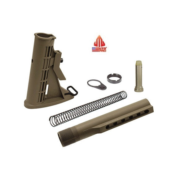 UTG Pro RBU6DM Complete FDE Flat Dark Earth 6-Position Mil-spec Stock Kit Assembly w/ Buffer, Spring, Tube, Castle Nut, and End Plate USA MADE Leapers AR15/M4/M16