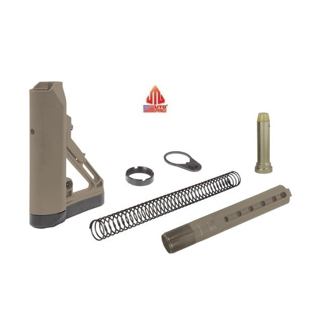 UTG Pro RBUS1DM Complete FDE Flat Dark Earth Ops Ready S1 6-Position Mil-spec Stock Kit Assembly w/ Buffer, Spring, Tube, Castle Nut, and End Plate USA MADE Leapers AR15/M4/M16