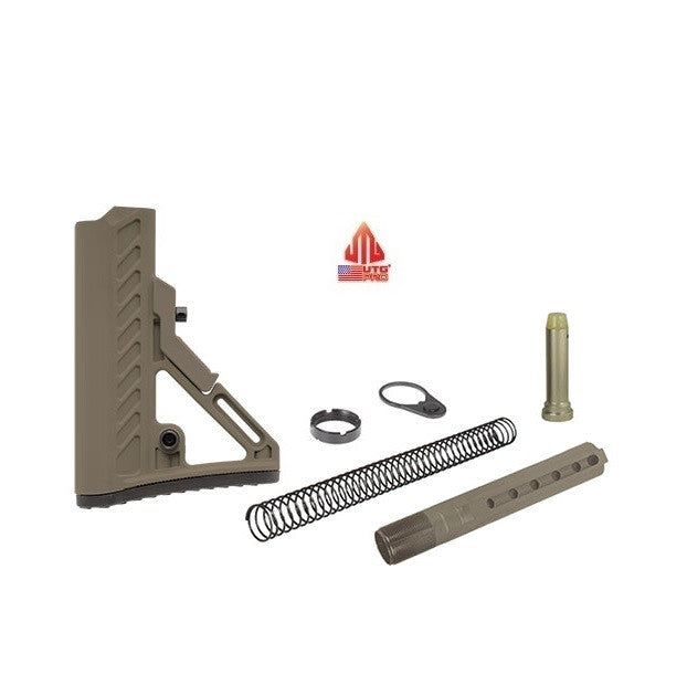 UTG Pro RBUS2DM Complete FDE Flat Dark Earth Ops Ready S2 6-Position Mil-spec Stock Kit Assembly w/ Buffer, Spring, Tube, Castle Nut, and End Plate USA MADE Leapers AR15/M4/M16