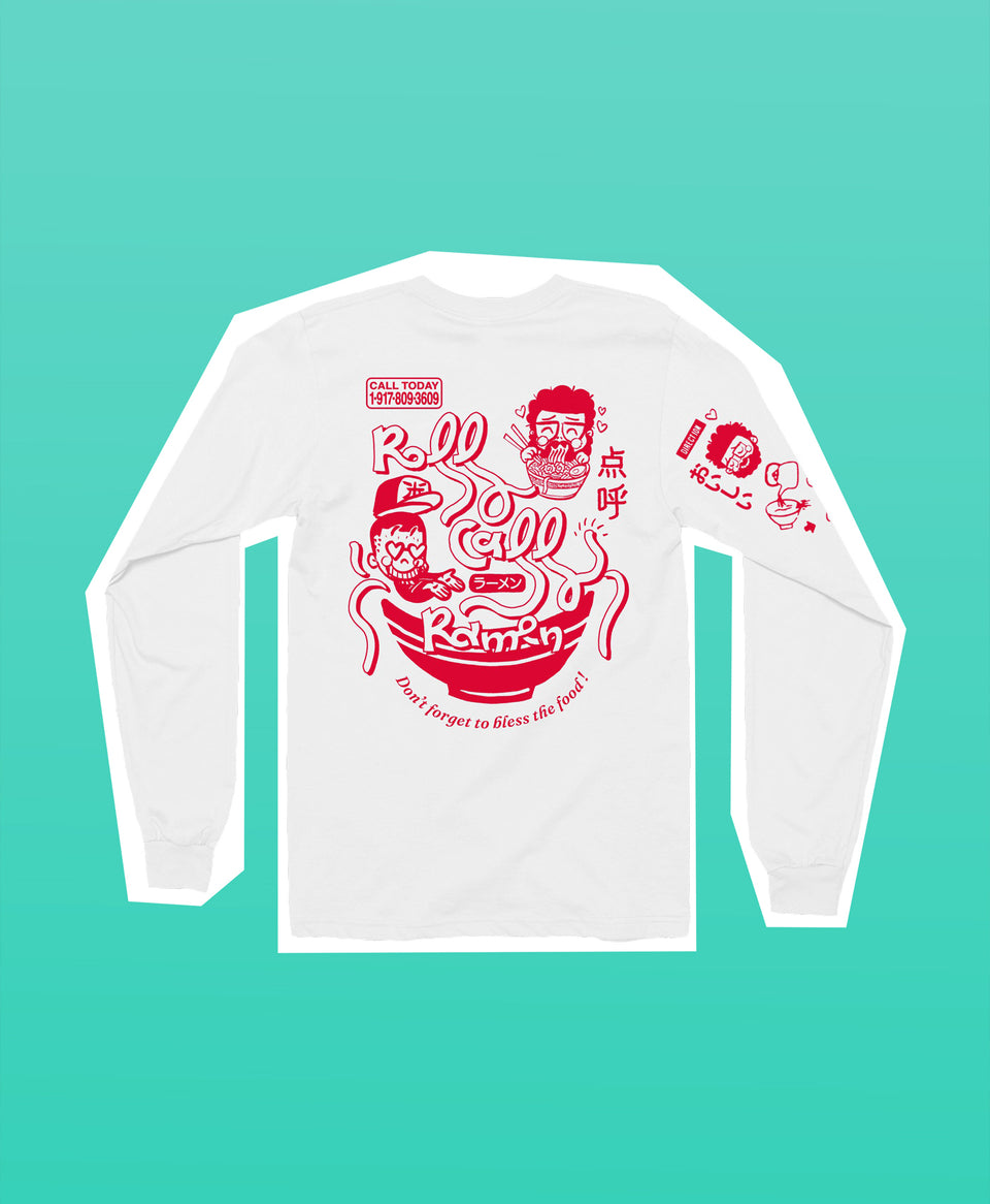 """Roll Call Ramen"" Long Sleeve White Tee"