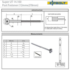 Zipbolt Super UT Post Fastener 14.110 (For Newel Posts)