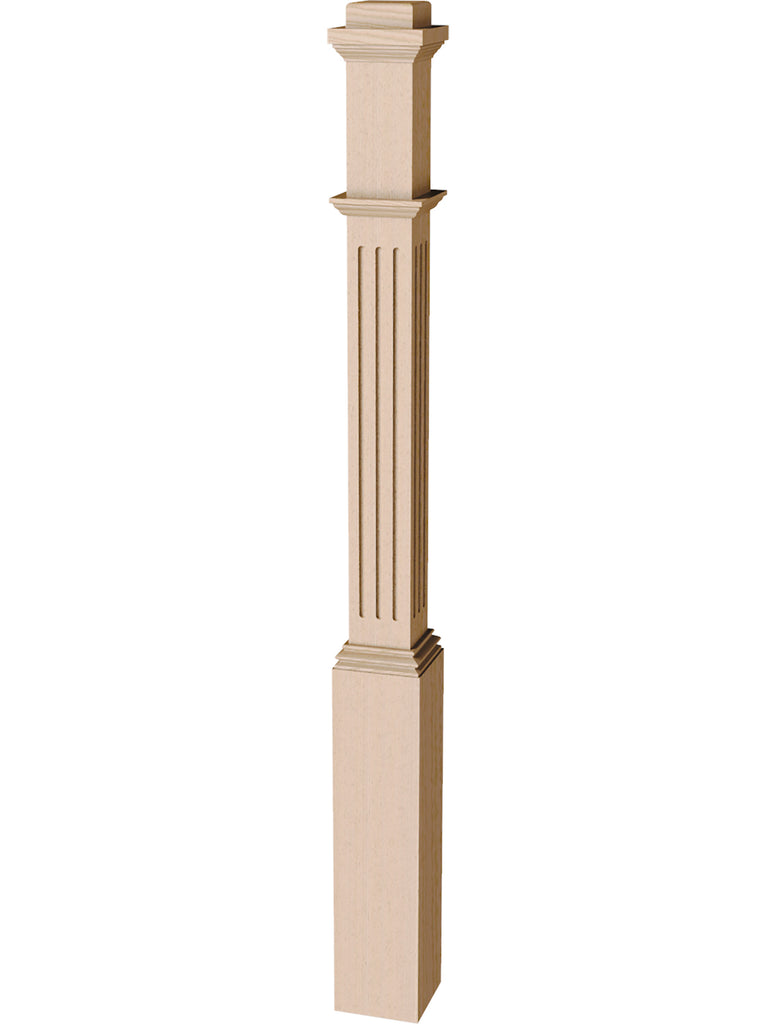 "Box Newel 4076F - Fluted Adjustable (3-1/2"")"