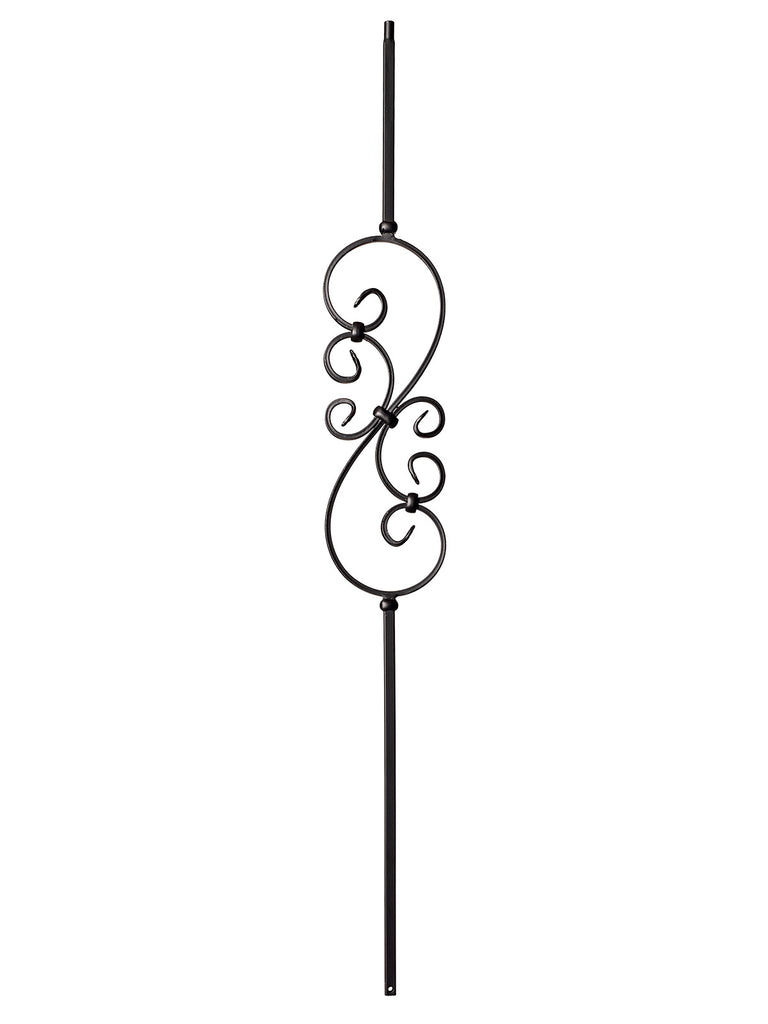 "Iron Baluster - 1/2"" Square - 9008 - S Scroll"