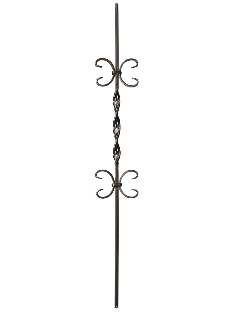 "Iron Baluster - 1/2"" Square - 9015 - Single Ribbon w/ Butterflies"