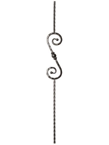 "Iron Baluster - 9/16"" Hammered - 9034 - S Scroll With Ball"