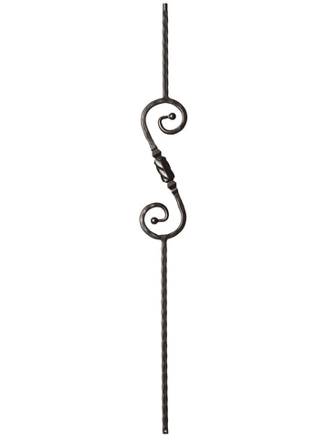 "Iron Baluster - 9/16"" Hammered - 9047 - S Scroll With Knob"