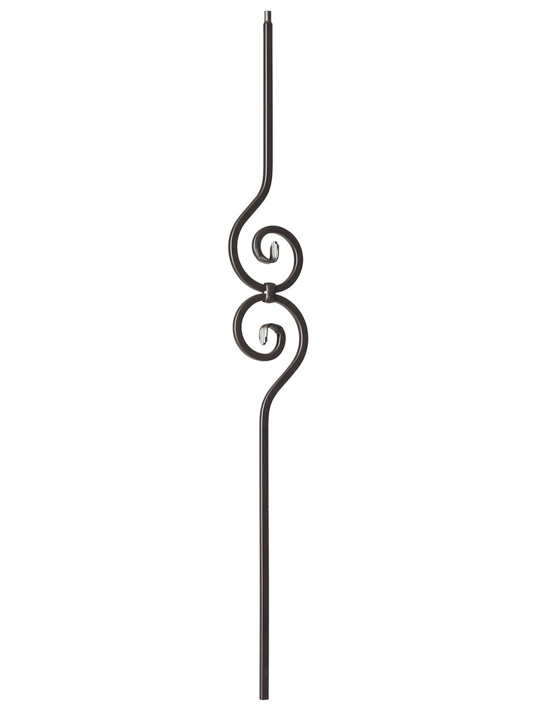 "Iron Baluster - 1/2"" Square - 9090 - Spiral Scroll"