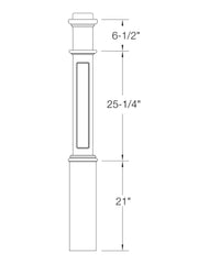 "Box Newel 6-1/4"" 991FP (Flat Panel)"