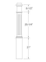 "Box Newel 6-1/4"" 991F (Fluted)"