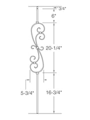 "Iron Baluster - 5/8"" Square (Scroll - S Scroll: 5-3/4"" W) 2G56"