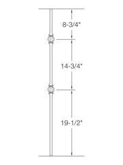 "Iron Baluster - 5/8"" Round (Ball - Double Ball) 2GR23"