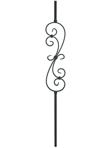 "Iron Baluster - 5/8"" Round (Scroll - S Scroll: 5-3/4"" W) 2GR56"