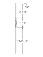 "Iron Baluster - 1/2"" Square (Contemporary - Single Basket: Slimline) T18"