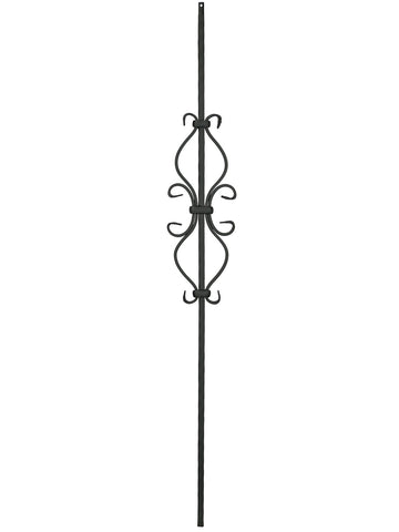 "Iron Baluster - 1/2"" Square (Scroll - Hour Glass Scroll) T35"