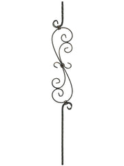 "Iron Baluster - 1/2"" Square (Scroll - Hammered S Scroll) T36"