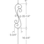 "Iron Baluster - 1/2"" Square (Scroll - Traditional S Scroll) T56"