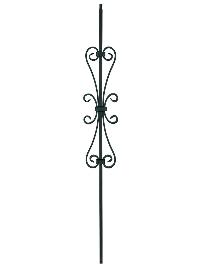 "Iron Baluster - 1/2"" Square (Scroll - Double Heart Scroll) T58"