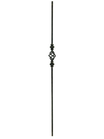 "Iron Baluster - 1/2"" Square (Contemporary - Single Basket w/ Knuckles) T62"