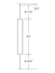 "Iron Baluster - 1/2"" Square (Contemporary - Single Rectangle) T81"