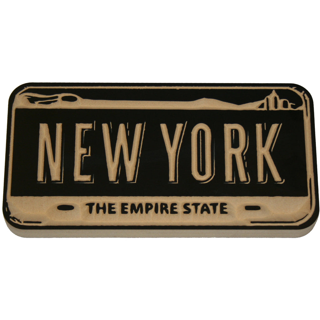 New York Empire State License Plate Wood Carving Wall Decor