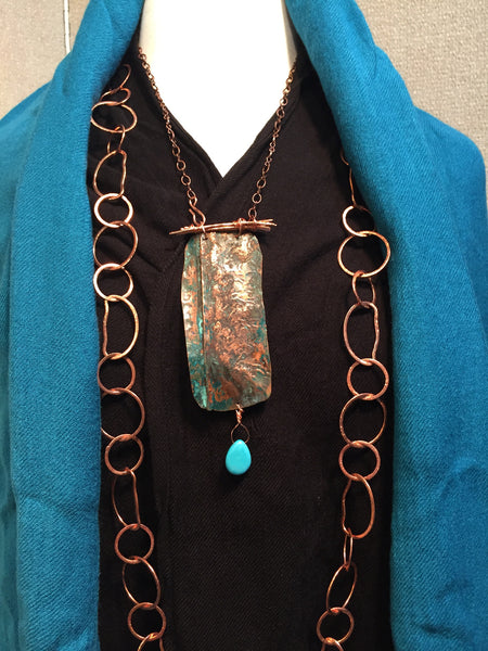Embossed Copper with Green Patina Turquoise Necklace