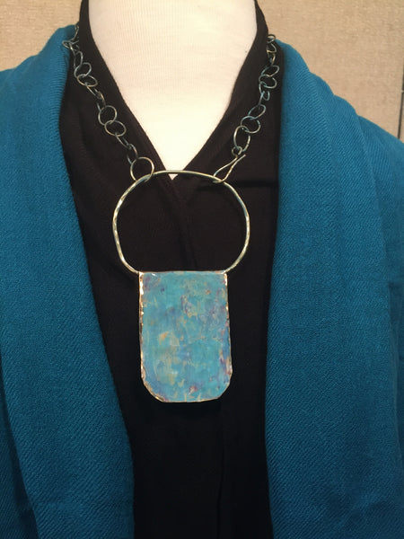 Featured:   Hammered Brass with green patina and chain necklace  $48