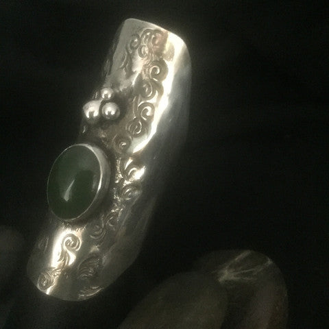 Sterling Silver with Jade Cabochon Adjustable Saddle Ring  (Large Size)