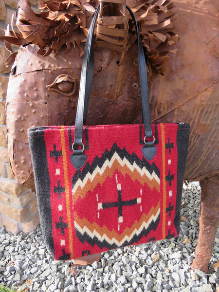 Southwestern Handwoven 100% wool Zapotec Rug Bag in rich colors faux leather strap handle