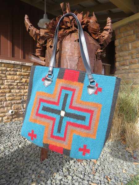 Southwestern Handwoven 100% wool in classic Zapotec Rug Bag in rich colors