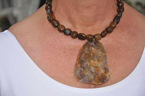 Bronzite Nugget With Hand Patina Brass Pendant Necklace with Gold Plated S Hook Clasp