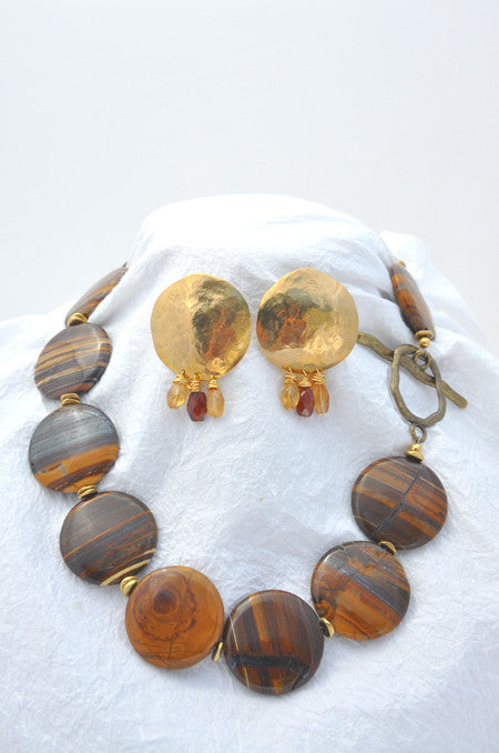 Zebra Jasper Iron Necklace and Hammered Brass with Hessonite Gems Earring Set
