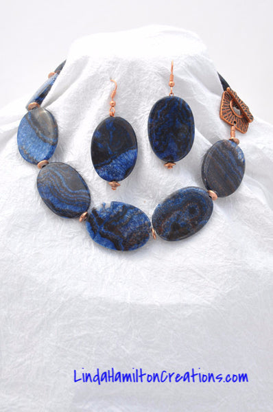 Blue Zebra Jasper Necklace and Earring Set