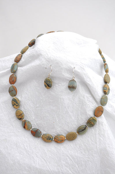 Green Opal Conglomerate Jasper, Silver magnet clasp Necklace and Earrings Wire Earrings of Green Opal Conglomerate Jasper
