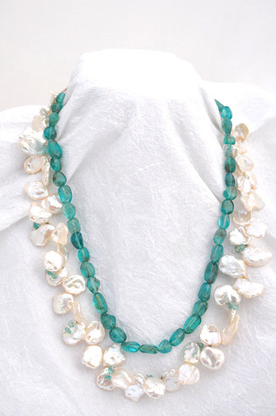 11mm White Keishi Pearls, Apatite string Necklace