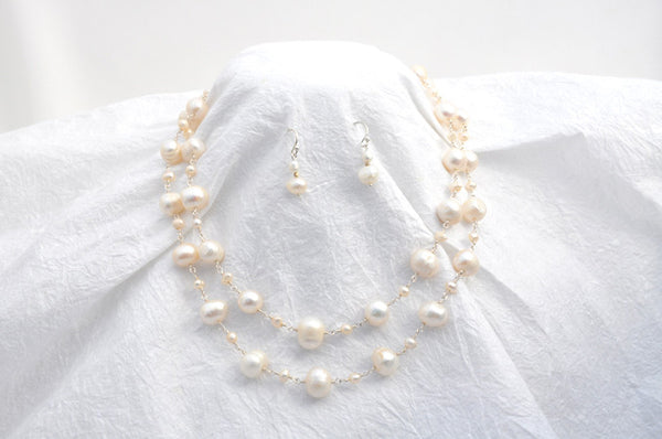 2 Strand White Potato Pearls, silver linked, Necklace