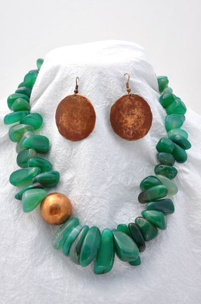 Green Agate Drops, Copper Ball Bead, Copper S-hook Necklace and Earrings Wire Earrings are hammered Copper with Patina Set