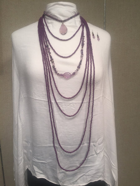 Amethyst Agate with Slice Necklace with 7 (Seven) Layer Purple and Amethyst Bead Necklace and Earring Set