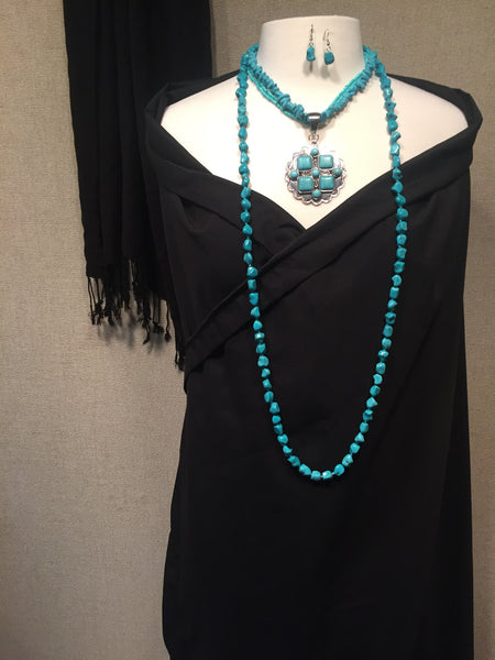 Turquoise and Silver Tone Layered Necklace and Earring Set