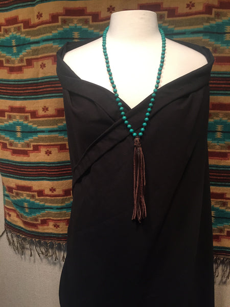 Round Turquoise Long Necklace with Leather Tassel