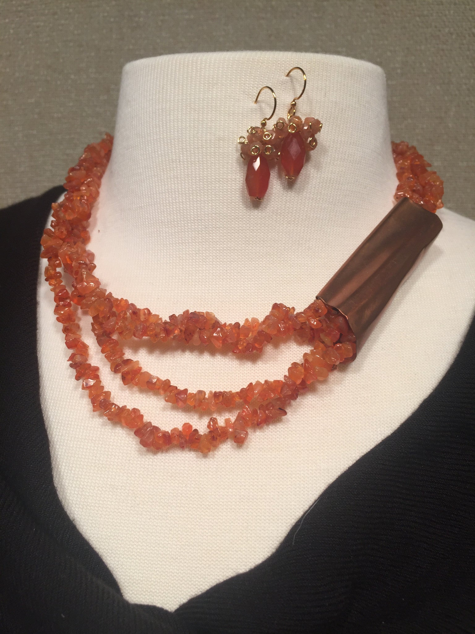 Carnelian Multi-layer Necklace with Earrings Set